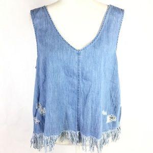 American Eagle Top Denim XL Fringe Blue Shirt NWT
